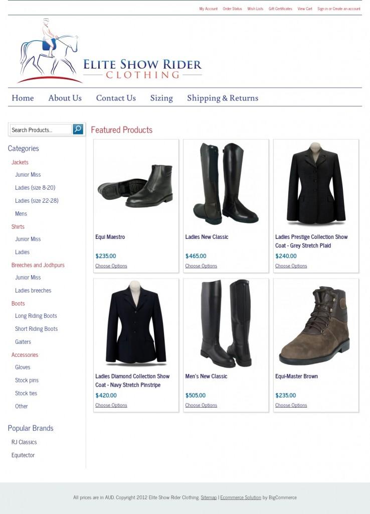 Elite Show Rider Clothing website