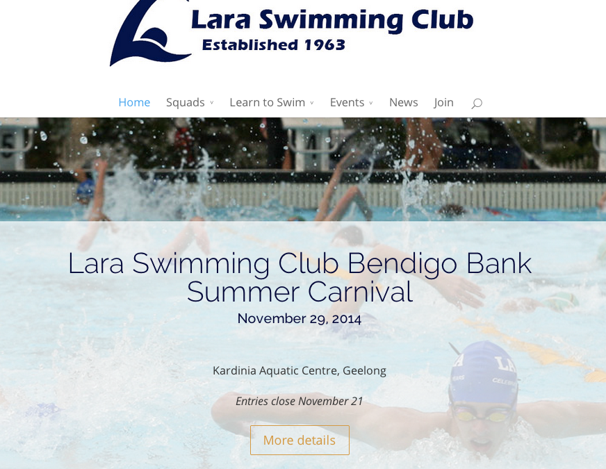 Website Update for Lara Swimming Club